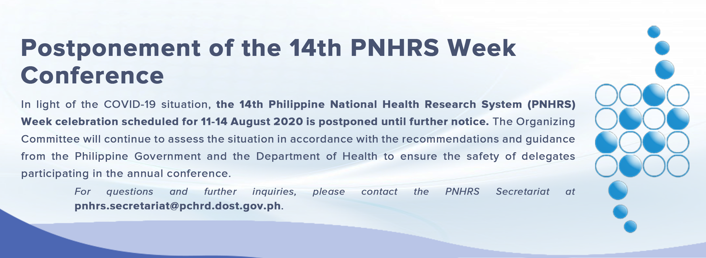 Postponement of 14th PNHRS Week Conference